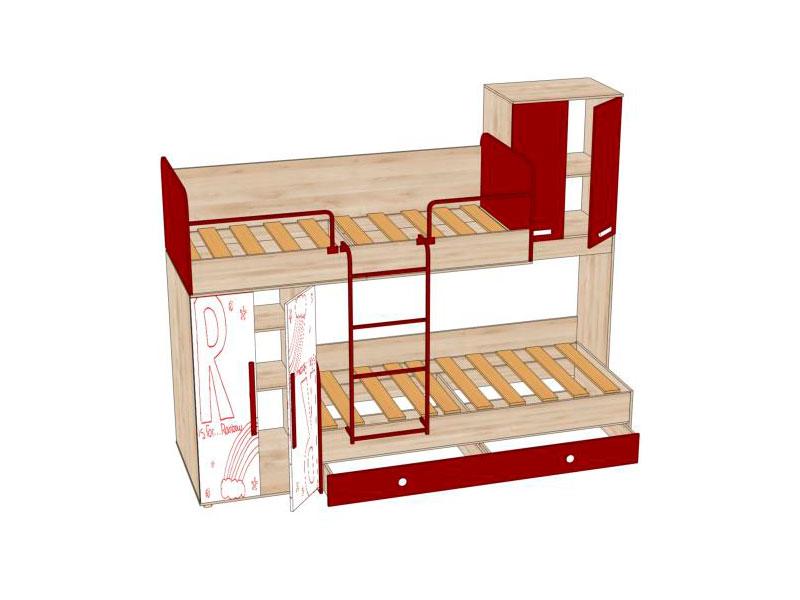 Модуль предусматривает сборку на правую и левую стороны.  Слева за распашными дверьми три полки и штанга для одежды.